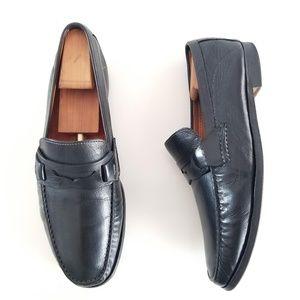 SANTONI Penny Loafers Black Slip On Dress Shoes
